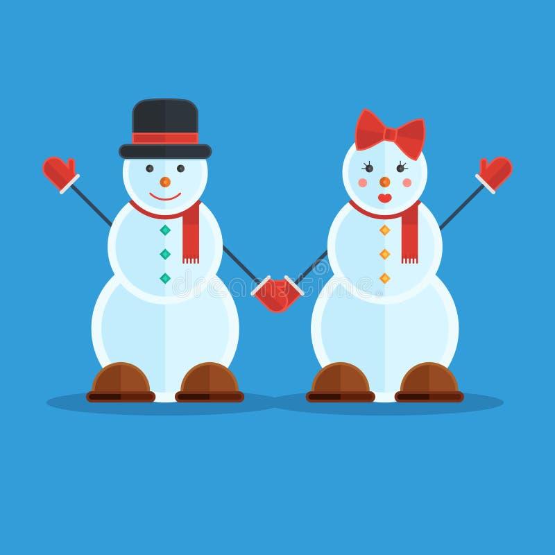 Ζεύγος των χιονανθρώπων διανυσματική απεικόνιση