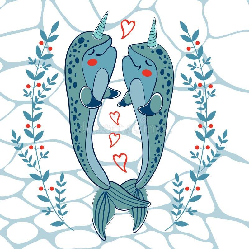 Ζεύγος των narwhals ερωτευμένων διανυσματική απεικόνιση