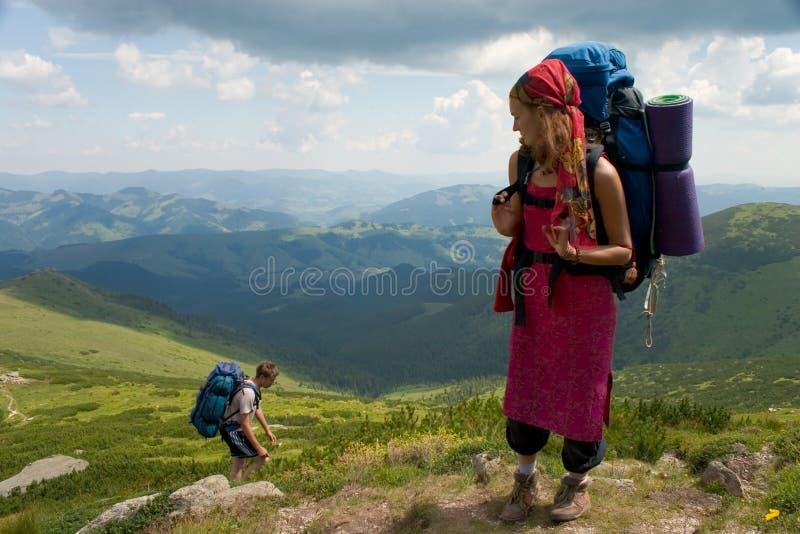 ζεύγος backpackers στοκ εικόνες
