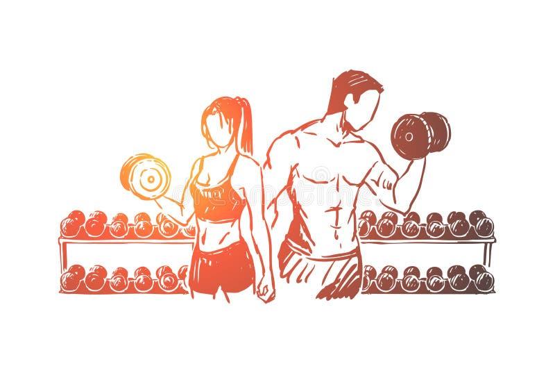Ζεύγος Bodybuilders που επιλύει στη γυμναστική, την άσκηση ανύψωσης βάρους με τους αλτήρες, τον αθλητικό τύπο και τη φίλαθλο διανυσματική απεικόνιση