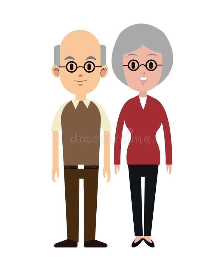 Ζεύγος Eldely με τα γυαλιά φαλακρά ελεύθερη απεικόνιση δικαιώματος