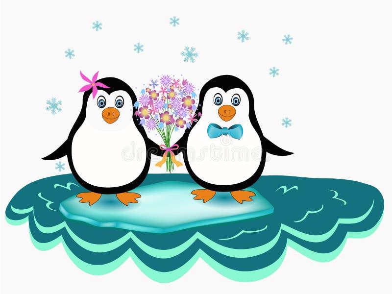 Ζεύγος Penguin ελεύθερη απεικόνιση δικαιώματος