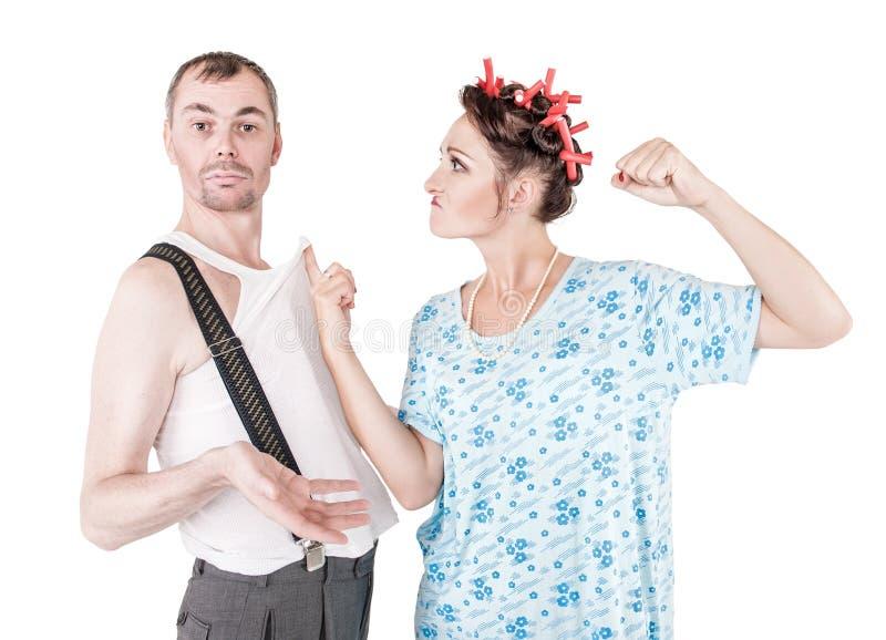 Ζηλότυπη φιλονικία γυναικών με το σύζυγό της στοκ εικόνες με δικαίωμα ελεύθερης χρήσης