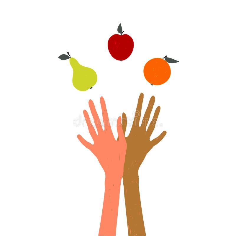 Ζογκλέρ Δίνει τα φρούτα ταχυδακτυλουργίας απεικόνιση στο θέμα του υγιούς τρόπου ζωής, το φεστιβάλ συγκομιδών, ημέρα των ευχαριστι ελεύθερη απεικόνιση δικαιώματος