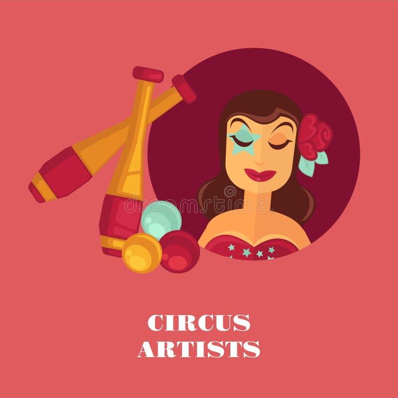 Ζογκλέρ και εξοπλισμός promo καλλιτεχνών τσίρκων θηλυκοί posterwith απεικόνιση αποθεμάτων