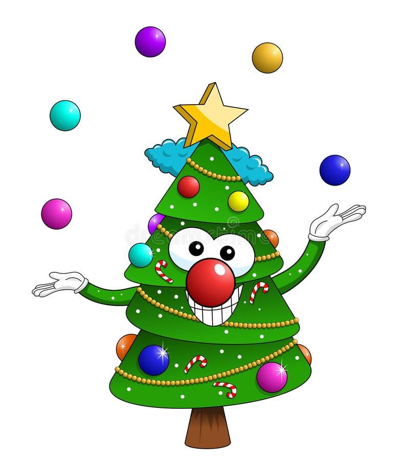 Ζογκλέρ κλόουν κινούμενων σχεδίων μασκότ χαρακτήρα χριστουγεννιάτικων δέντρων Χριστουγέννων που απομονώνεται απεικόνιση αποθεμάτων
