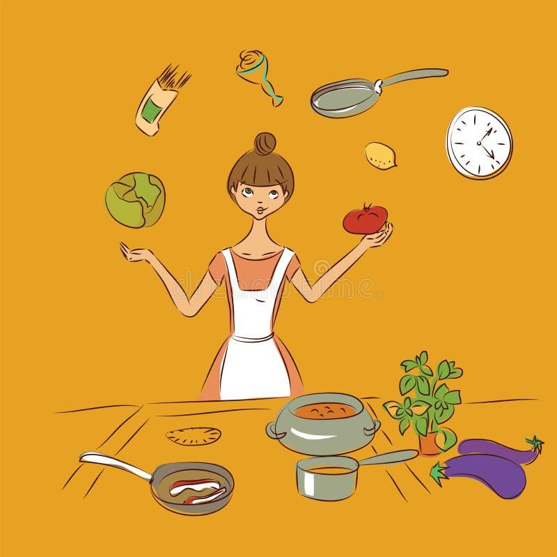 Ζογκλέρ μαγείρων σκίτσο απεικόνισης doodle που απομονώνεται διανυσματικό ελεύθερη απεικόνιση δικαιώματος