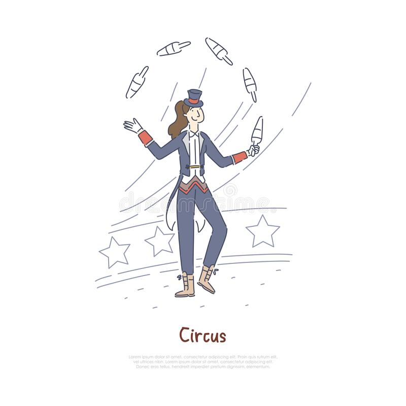 Ζογκλέρ που εκτελεί, επαγγελματικός δράστης στο χώρο τσίρκων, ταχυδακτυλουργία εκτελεστών με το πρότυπο εμβλημάτων καρφιτσών απεικόνιση αποθεμάτων