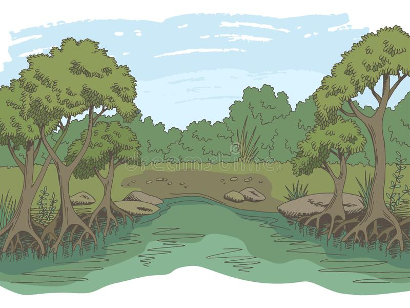 Ζουγκλών δασικό διάνυσμα απεικόνισης σκίτσων τοπίων χρώματος ποταμών γραφικό απεικόνιση αποθεμάτων