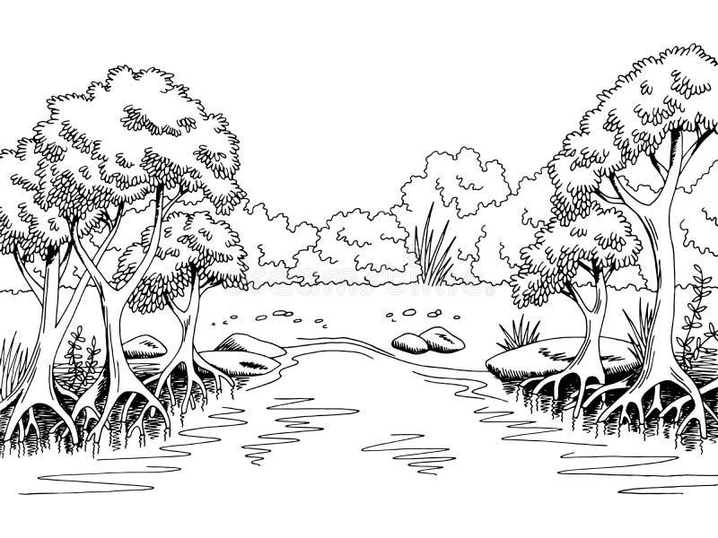 Ζουγκλών δασική απεικόνιση σκίτσων τοπίων ποταμών γραφική μαύρη άσπρη ελεύθερη απεικόνιση δικαιώματος