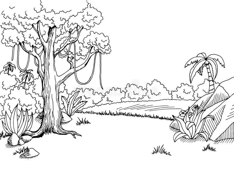 Ζουγκλών δασική γραφική απεικόνιση σκίτσων τοπίων τέχνης μαύρη άσπρη ελεύθερη απεικόνιση δικαιώματος