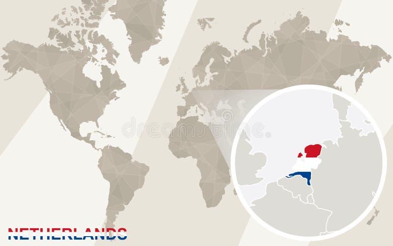 Ζουμ στον ολλανδικούς χάρτη και τη σημαία Παλαιός Κόσμος χαρτών απεικόνισης ελεύθερη απεικόνιση δικαιώματος