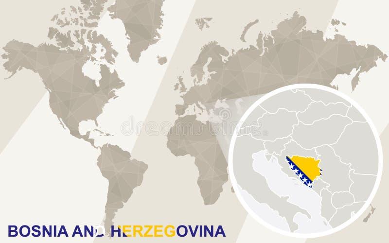 Ζουμ στο χάρτη και τη σημαία Βοσνίας-Ερζεγοβίνης Παλαιός Κόσμος χαρτών απεικόνισης διανυσματική απεικόνιση