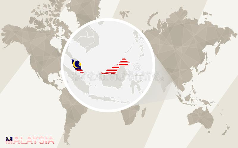 Ζουμ στο χάρτη και τη σημαία της Μαλαισίας Παλαιός Κόσμος χαρτών απεικόνισης απεικόνιση αποθεμάτων
