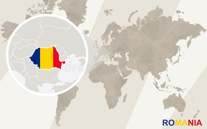 Ζουμ στο χάρτη και τη σημαία της Ρουμανίας Παλαιός Κόσμος χαρτών απεικόνισης ελεύθερη απεικόνιση δικαιώματος