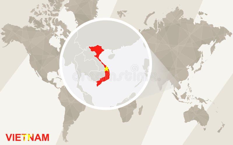 Ζουμ στο χάρτη και τη σημαία του Βιετνάμ Παλαιός Κόσμος χαρτών απεικόνισης απεικόνιση αποθεμάτων