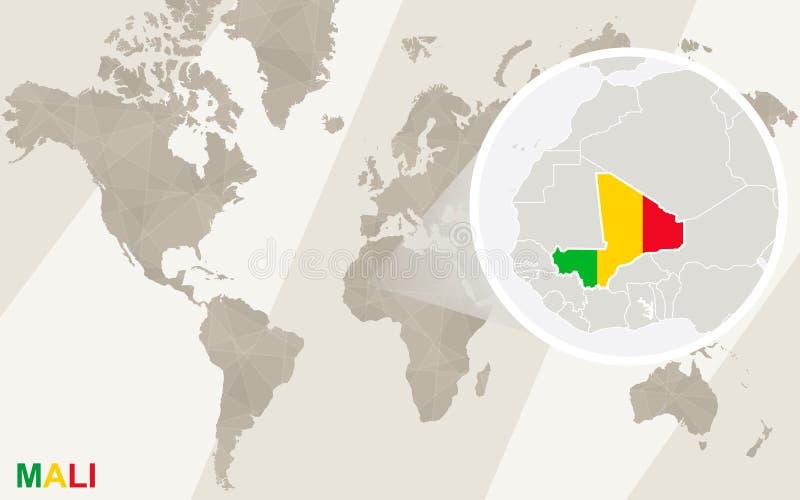 Ζουμ στο χάρτη και τη σημαία του Μαλί Παλαιός Κόσμος χαρτών απεικόνισης διανυσματική απεικόνιση