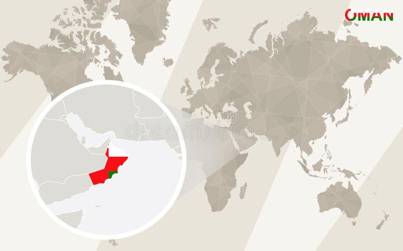 Ζουμ στο χάρτη και τη σημαία του Ομάν Παλαιός Κόσμος χαρτών απεικόνισης διανυσματική απεικόνιση