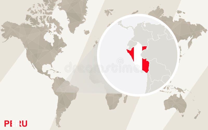 Ζουμ στο χάρτη και τη σημαία του Περού Παλαιός Κόσμος χαρτών απεικόνισης απεικόνιση αποθεμάτων