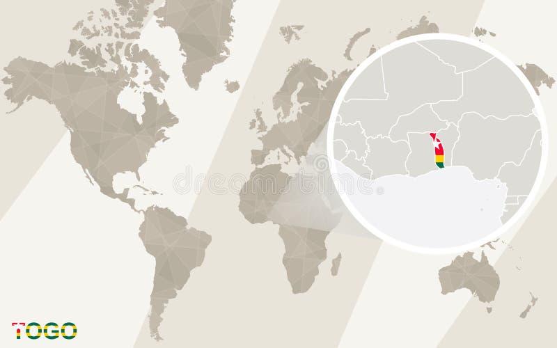 Ζουμ στο χάρτη και τη σημαία του Τόγκο Παλαιός Κόσμος χαρτών απεικόνισης απεικόνιση αποθεμάτων