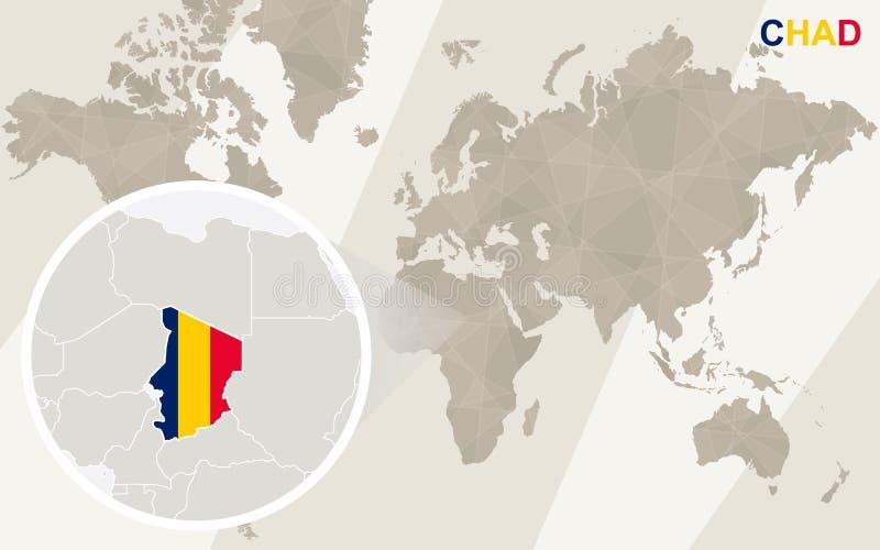 Ζουμ στο χάρτη και τη σημαία του Chad Παλαιός Κόσμος χαρτών απεικόνισης απεικόνιση αποθεμάτων
