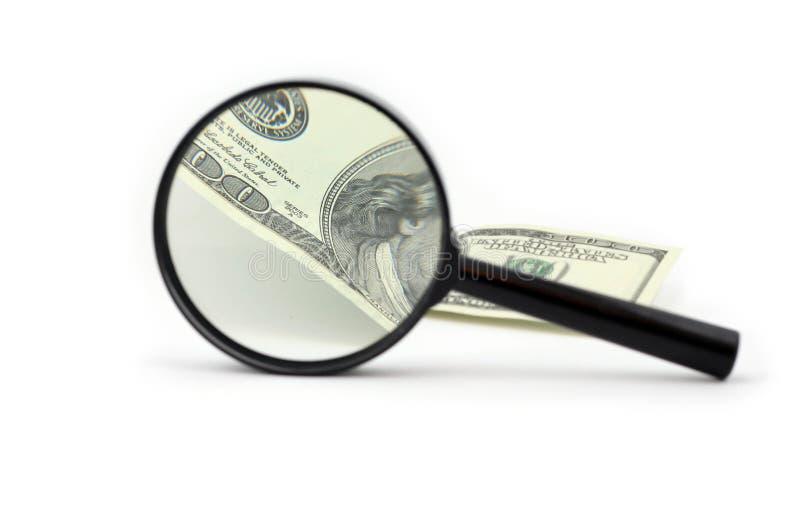 ζουμ χρημάτων γυαλιού στοκ φωτογραφία με δικαίωμα ελεύθερης χρήσης