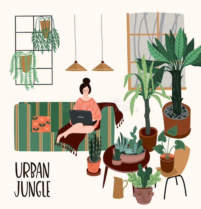 ζούγκλα αστική Διανυσματική απεικόνιση με το καθιερώνον τη μόδα εγχώριο ντεκόρ Houseplants, τροπικά φύλλα απεικόνιση αποθεμάτων