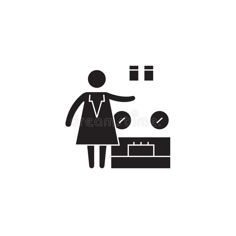 Ζυγίζοντας εικονίδιο έννοιας αγαθών μαύρο διανυσματικό Ζυγίζοντας επίπεδη απεικόνιση αγαθών, σημάδι απεικόνιση αποθεμάτων