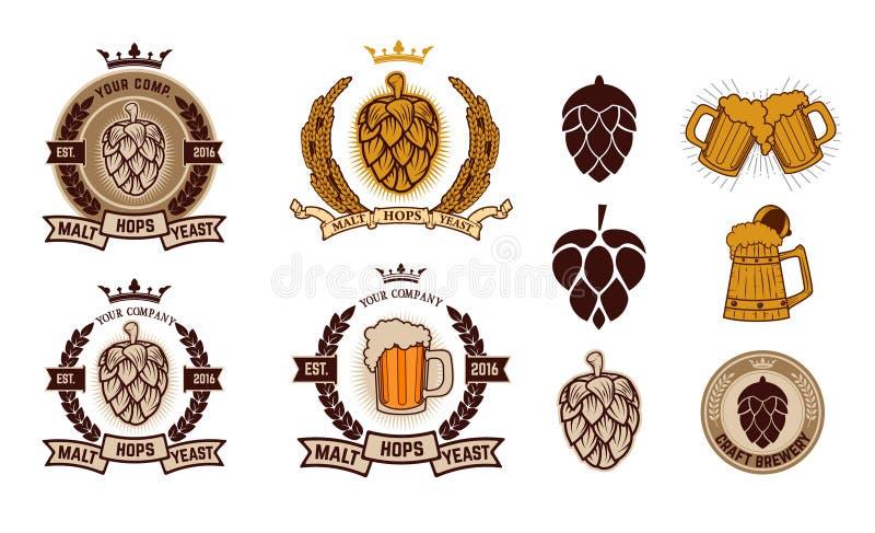 Ζυθοποιείο τεχνών Ετικέτες μπύρας απεικόνιση αποθεμάτων