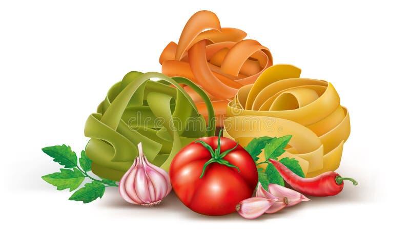 Ζυμαρικά με την ντομάτα και το σκόρδο διανυσματική απεικόνιση