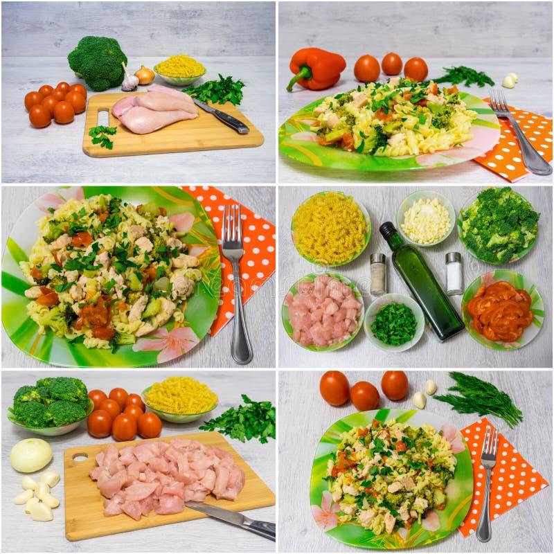 Ζυμαρικά με το κοτόπουλο και το μπρόκολο κολάζ στοκ φωτογραφίες με δικαίωμα ελεύθερης χρήσης