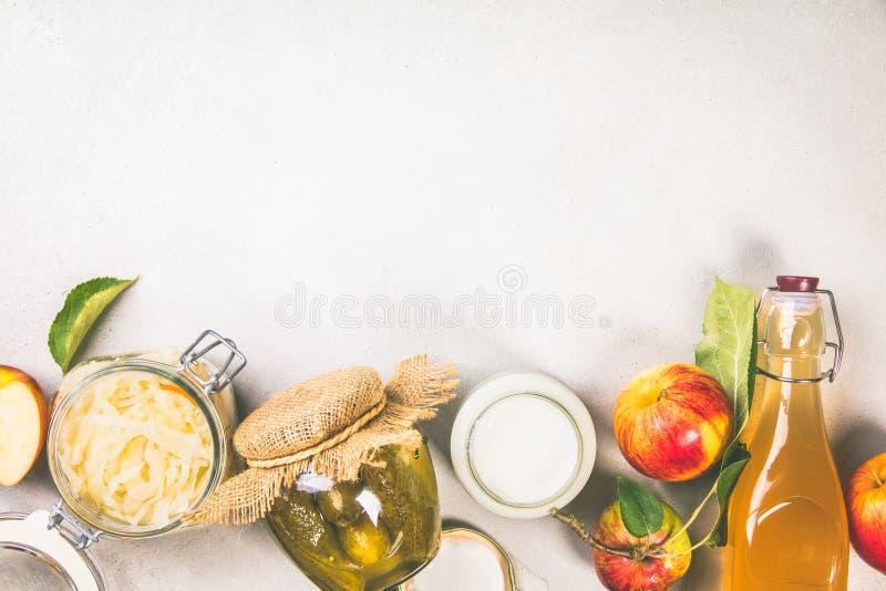 Ζυμωνομμένα τρόφιμα, probiotic πηγές στοκ εικόνες