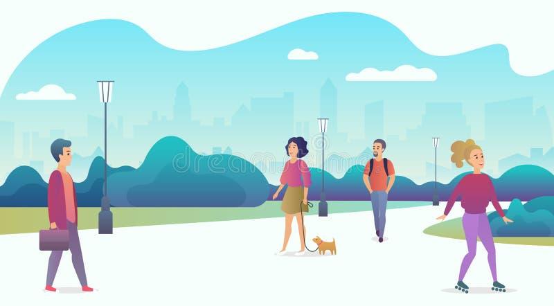 Ζωή ανθρώπων στη σύγχρονη πόλη eco Άνθρωποι που χαλαρώνουν στη φύση σε ένα όμορφο αστικό πάρκο με τους ουρανοξύστες στο υπόβαθρο απεικόνιση αποθεμάτων
