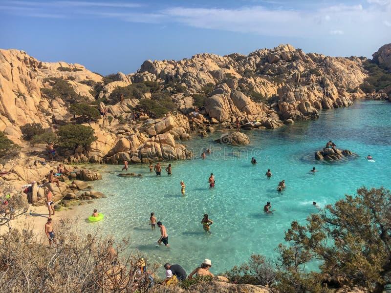 Ζωή παραλιών σε Spiaggia Cala Coticcio στοκ εικόνα