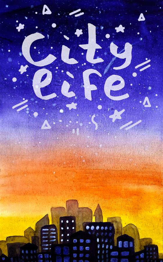 Ζωή πόλεων εγγραφή σε ένα υπόβαθρο της πορφυρής κίτρινης ανατολής κλίσης και έναν έναστρο ουρανό στο ύφος watercolor απεικόνιση αποθεμάτων