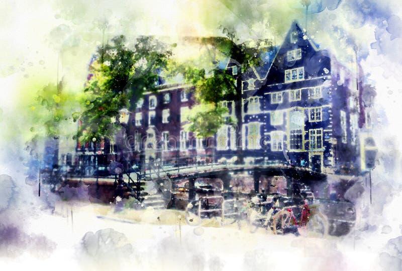Ζωή πόλεων στο ύφος watercolor - παλαιό Άμστερνταμ απεικόνιση αποθεμάτων