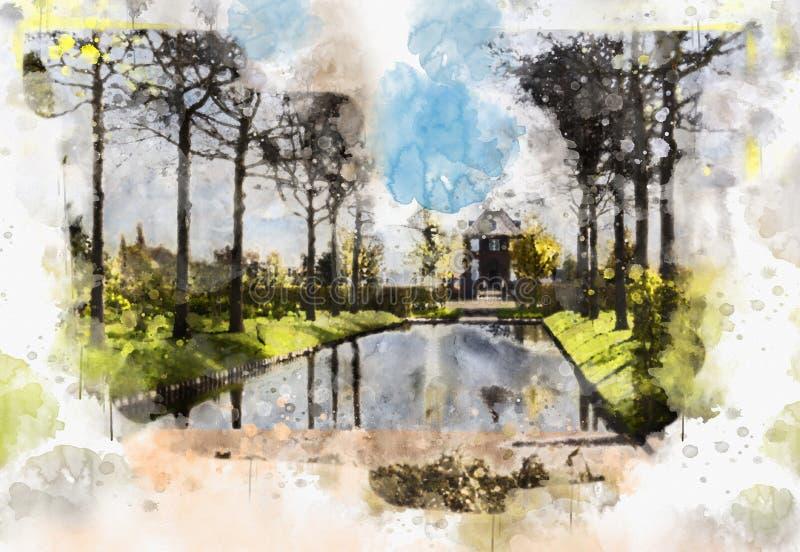 Ζωή πόλεων στο ύφος watercolor ελεύθερη απεικόνιση δικαιώματος