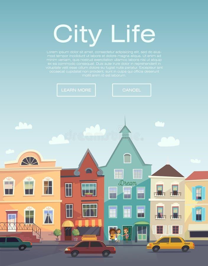Ζωή πόλεων Αστικός περίπατος flayer Υπηρεσία πληροφοριών πόλεων Έμβλημα πόλεων Οδός πόλεων και οδική κυκλοφορία Οδικό ταξίδι Υπηρ ελεύθερη απεικόνιση δικαιώματος