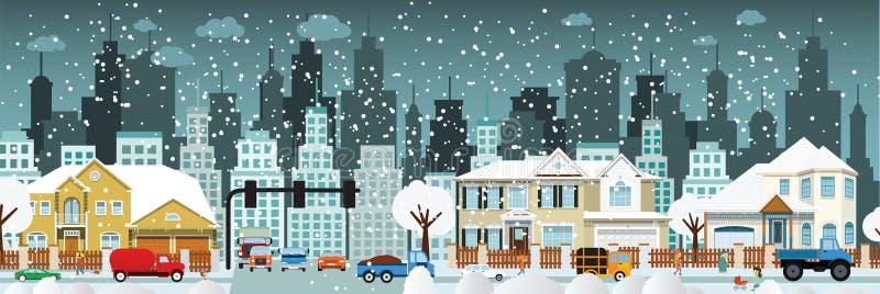 Ζωή πόλεων (χειμώνας) διανυσματική απεικόνιση