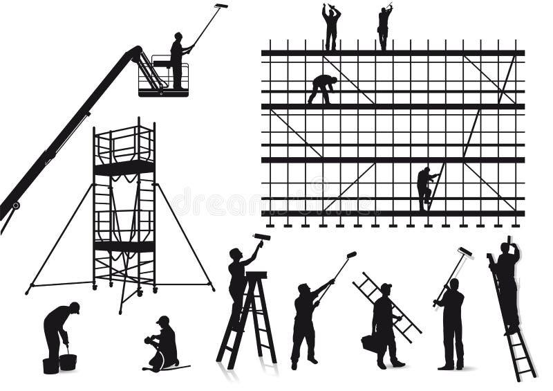 Ζωγράφοι και βιοτέχνες στην εργασία.  ελεύθερη απεικόνιση δικαιώματος