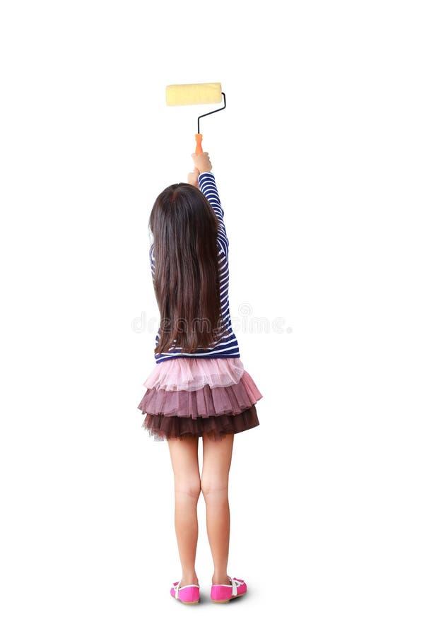 Ζωγράφοι μικρών κοριτσιών με τους κυλίνδρους χρωμάτων στοκ εικόνες