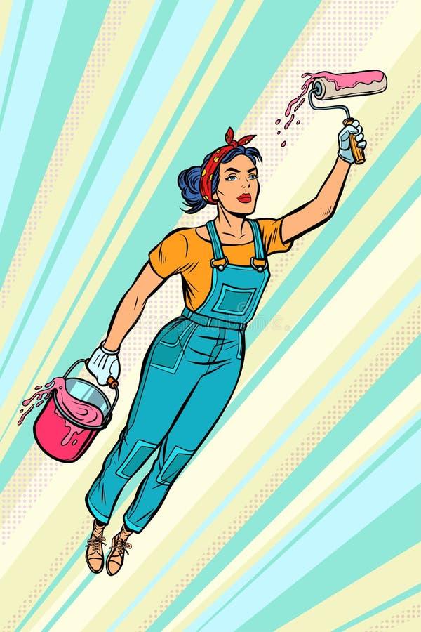 Ζωγράφος γυναικών, μύγες superhero ελεύθερη απεικόνιση δικαιώματος