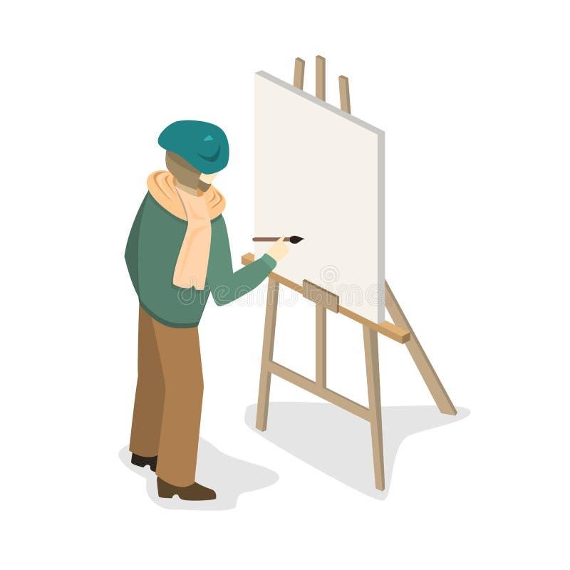 Ζωγράφος καλλιτεχνών easel εργασίας στο επίπεδο τρισδιάστατο πρότυπο έννοιας Ιστού isometric infographic ελεύθερη απεικόνιση δικαιώματος