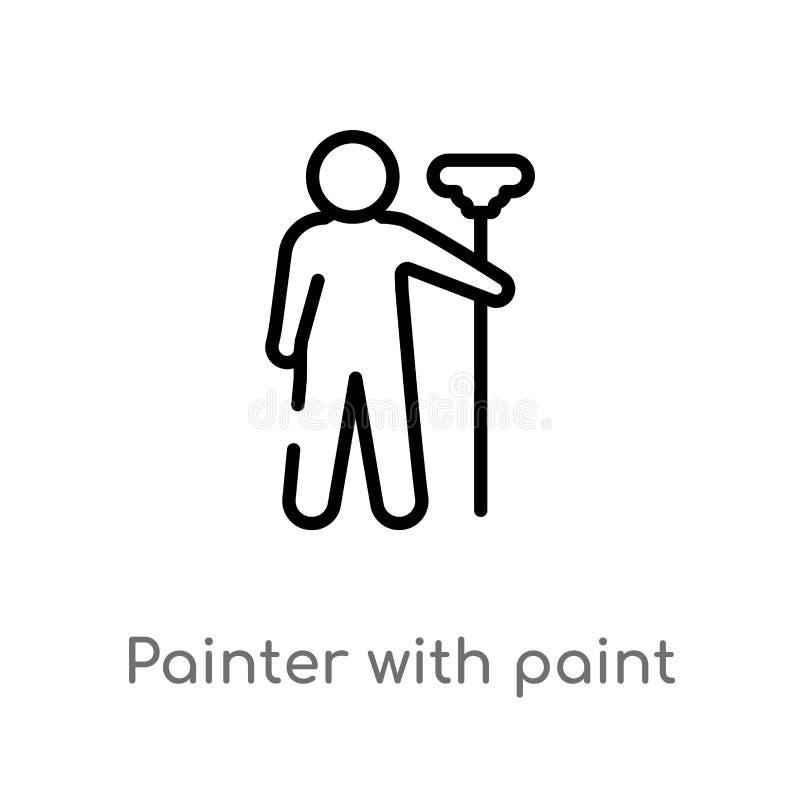 ζωγράφος περιλήψεων με το διανυσματικό εικονίδιο κυλίνδρων χρωμάτων απομονωμένη μαύρη απλή απεικόνιση στοιχείων γραμμών από την έ διανυσματική απεικόνιση