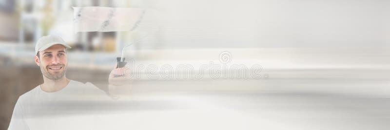 Ζωγράφος στο εργοτάξιο με την επίδραση μετάβασης στοκ φωτογραφία με δικαίωμα ελεύθερης χρήσης