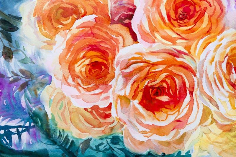 Ζωγραφικής χλωρίδας τέχνης πορτοκαλί, κόκκινο χρώμα απεικόνισης watercolor αρχικό των τριαντάφυλλων διανυσματική απεικόνιση