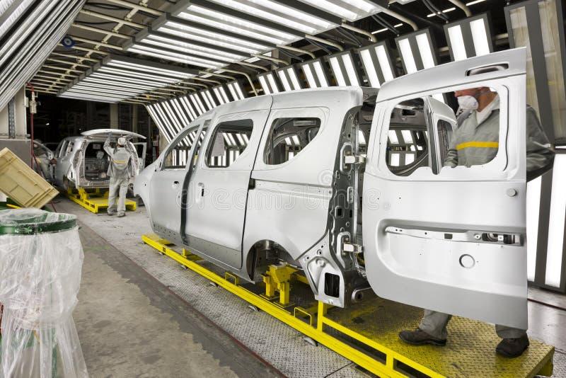 Ζωγραφική αυτοκινήτων εργοστασίων στοκ εικόνα