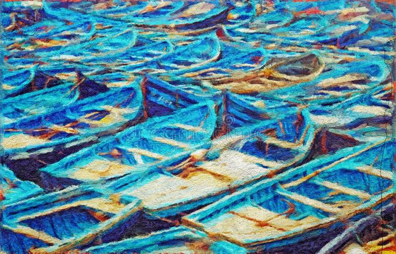 Ζωγραφική αλιευτικών σκαφών ελεύθερη απεικόνιση δικαιώματος