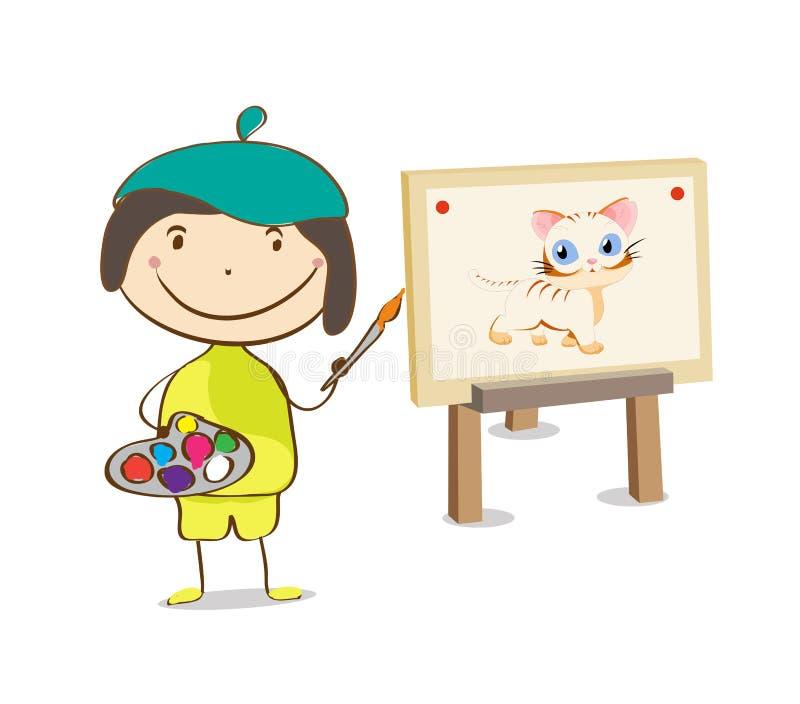 Ζωγραφική θηλυκών ή κοριτσιών καλλιτεχνών στον καμβά διανυσματική απεικόνιση