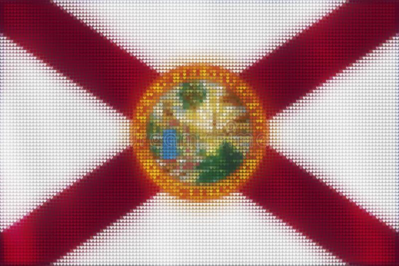 Ζωγραφική κεραμιδιών καρδιών μωσαϊκών της σημαίας της Φλώριδας διανυσματική απεικόνιση